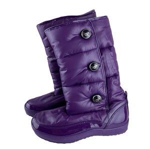Coach Polina Purple Puffer Winter Boots Sz 7 EUC